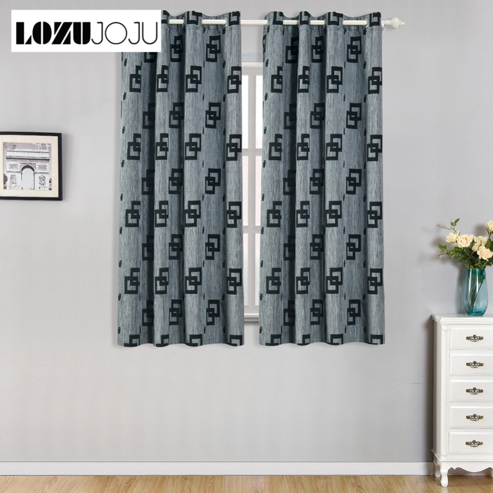 US $10.98 49% OFF|LOZUJOJU Short thread drops plaid jacquard thread curtain  sets for living room windows bedroom for kitchen door thick curtains-in ...