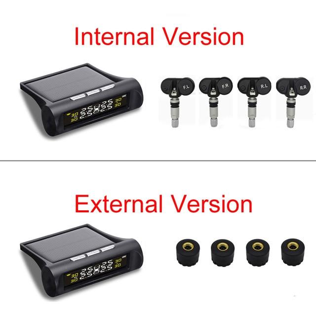 Solar TPMS Car Tire Pressure Alarm Monitor System 4 Wheel Internal External Tyre Sensor Temperature Alert D02W D02N Pro Visture 4