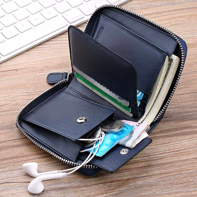 Williampolo carteira masculina de couro legítimo, carteira masculina compacta feita em couro legítimo, com zíper, porta-moedas com espaço para cartões, minimalista pl283