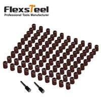 102pcs 6.35/12.7MM Sanding Bands Sleeves Ring 80# with 2 Mandrels Electric Grinding Polishing Nail Art Sandpaper Abrasive Tools