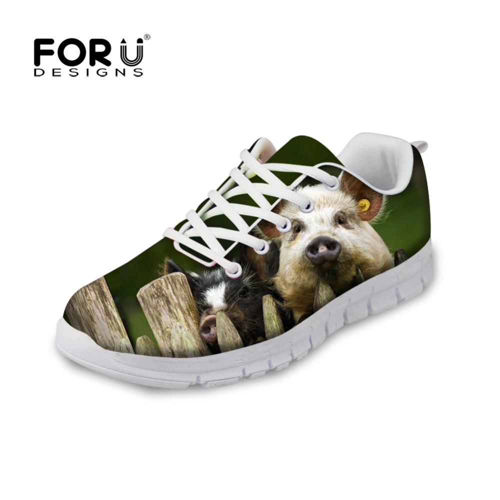 FORUDESIGNS Lace-up Women Casual Flats Shoes Funny Animal Pig Design Flat Shoes Woman Comfortable Mesh Shoes for Ladies Zapatos real pic high color decorative rivets women casual shoes brand designer lace up comfortable women flats shoes woman