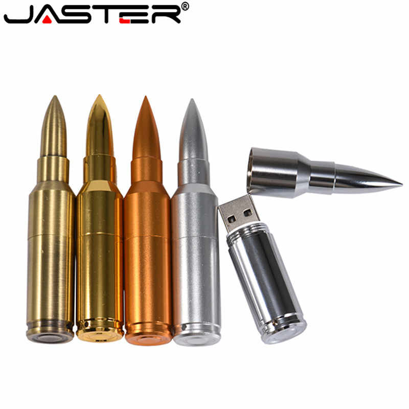 JASTER Metal Pen Drive Bullet USB Flash Drive 4GB 8GB 16GB 32GB 64GB Pendrive Flash Card USB 2.0 Disk Stick With Key Chain