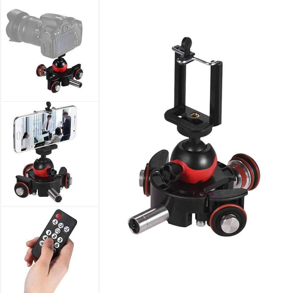 Andoer Phone Camera Mini Motorized Video Slider Track Dolly Rail 3-Wheel Pulley Car Skater With Swivel Ball Head Phone Clip