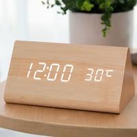 Creative Wooden Digital Alarm Clock Digital Led Table Talking Wood Night Electronic Desk Clock Kids Wake Up Light Clock 40N0091