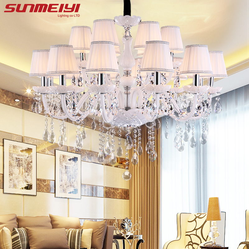 Modern LED White Crystal Chandelier Lights Lamp For Living Room Light Ceiling Fixture Indoor Pendant Lamp