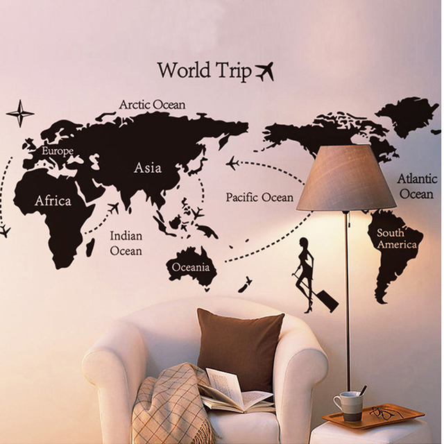 Xcm PVC Removable Wall Stickers Travel World Map Childrens - Wall map children's room