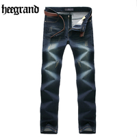HEE GRAND 2017 Classic Men Scratched Jeans Black High Quality Solid Comfortable Male Jeans Casual MKN1011
