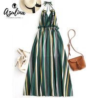AZULINA Striped Ruffled Backless Halter Maxi Dress Girl Dresses Women Casual Beach Boho Dress Summer Sleeveless