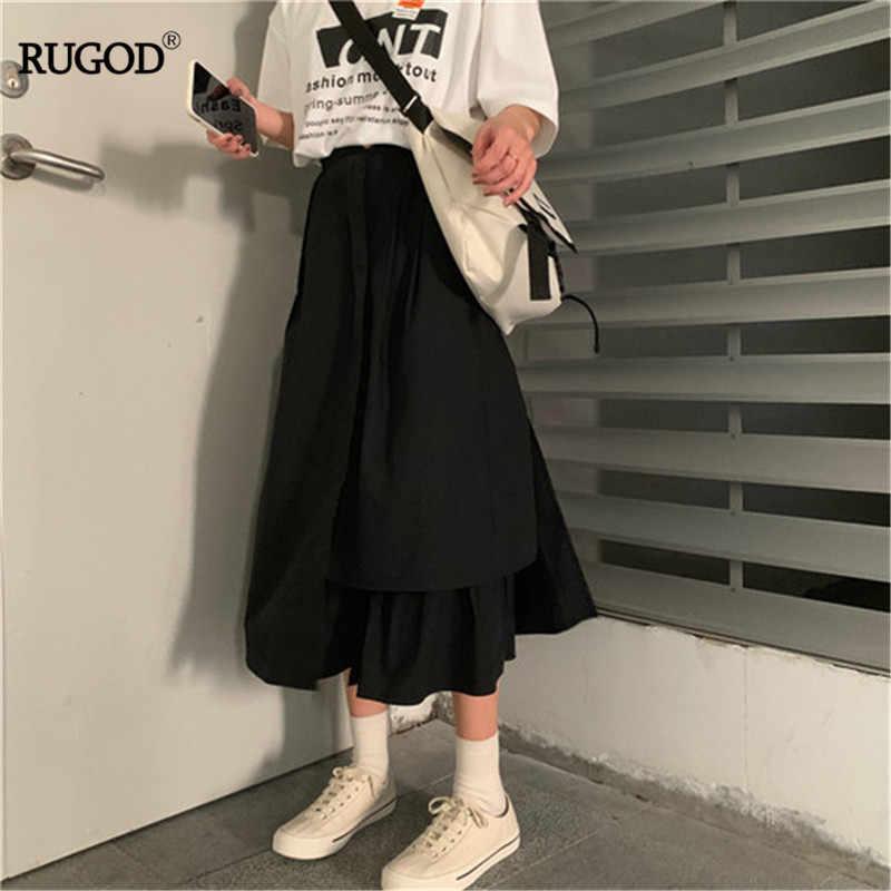 RUGOD Лето 2019 г. для женщин Империя талии Твердые Нерегулярные юбки с оборкой Корея Свободные Стиль боты fly повседневное леди хлопковые юбки
