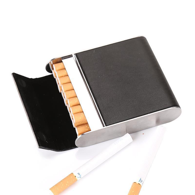 Clamshell Genuine Leather Cigarette Case Stainless Steel Cigarette Holder 16 Cigarettes Capacity Men cigarette case