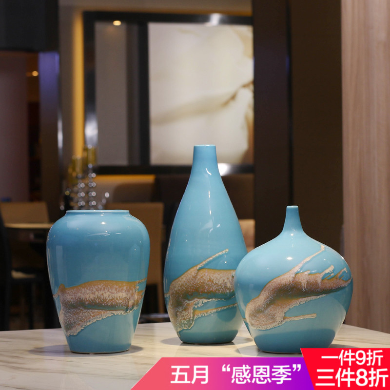 The new Chinese porcelain vase flower flower fambe manual model room decoration Home Furnishing living room TV cabinet