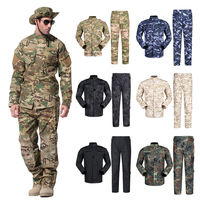 WW2 Security Team Army Suit Man Military Uniform Combat Jacket+pants with Pocket Multi Camouflage CP ACU Tactical Costumes