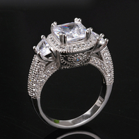 Cz Promise Ring For Women Vintage Design Square Princess Cut High Polished 4 Claws Cubic Zirconia