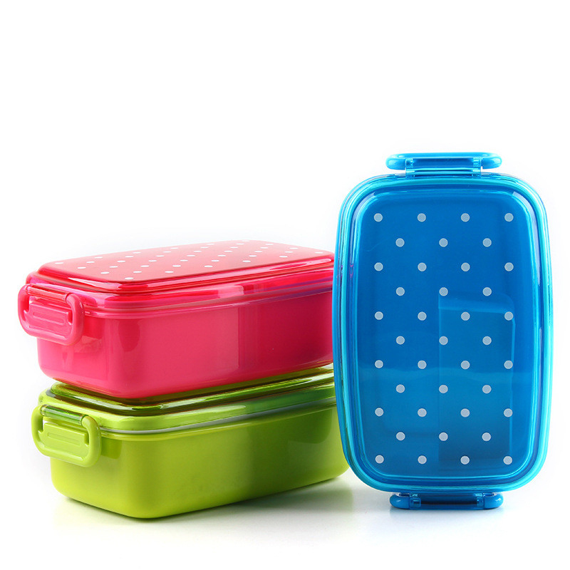 Keythemelife Portable Polka Dot Food Container bento Lunch boxs Kids fruit Snack Bento Microwave Lunchbox A4(China (Mainland))