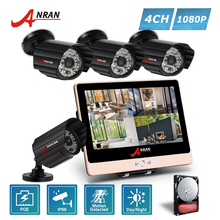 ANRAN Plug and Play P2P POE 4CH 1080P 12 Inch LCD Monitor NVR Home Security System 48 IR POE Outdoor CCTV IP Camera Hard Disk