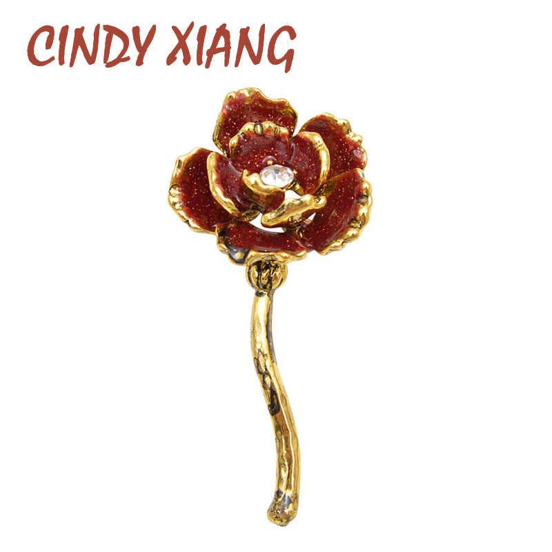 Cindy Xiang Baru 2019 Merah Anggur Warna Enamel Bunga Bros untuk Wanita Vintage Fashion Desain Retro Perhiasan Mawar Pin Mantel Badages