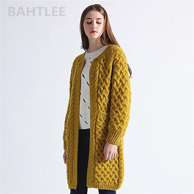 BAHTLEE Winter Long Sleeve Warm Mohair Cardigan Knitting Wool Jacquard Weave Sweater Women O Neck Jumper Pocket Mustard Yellow