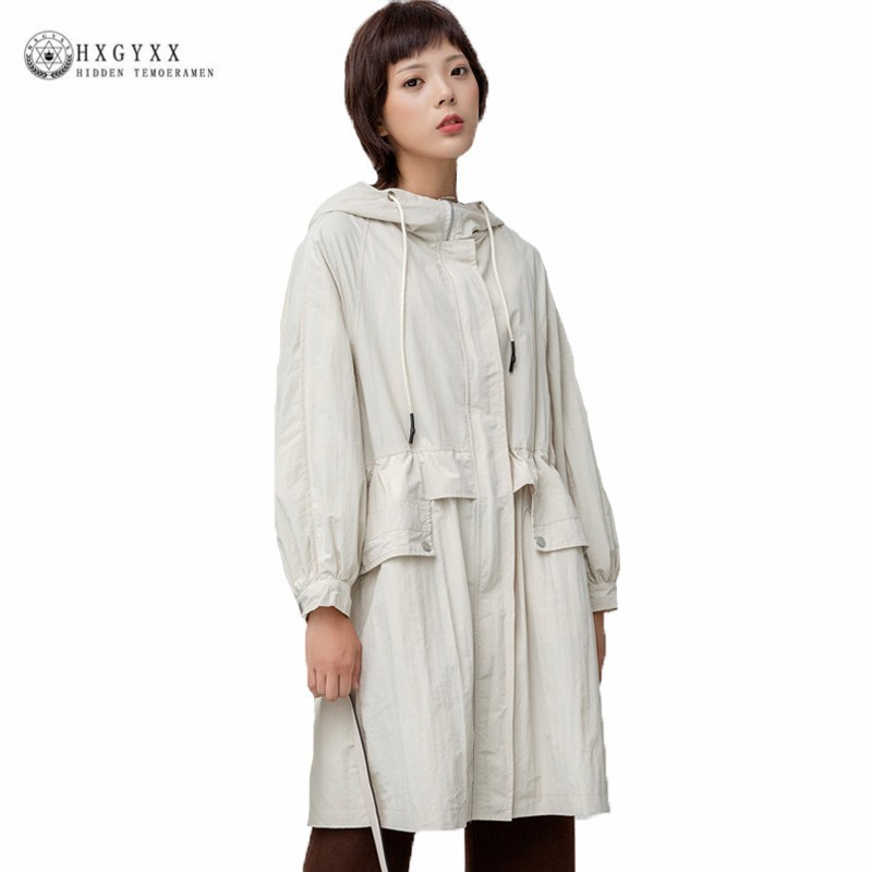 Vintage Long Windbreaker Female 2019 Autumn Korean Fashion Style Hooded Zipper Casual   Trench   Coat For Women Tops Clothes J054
