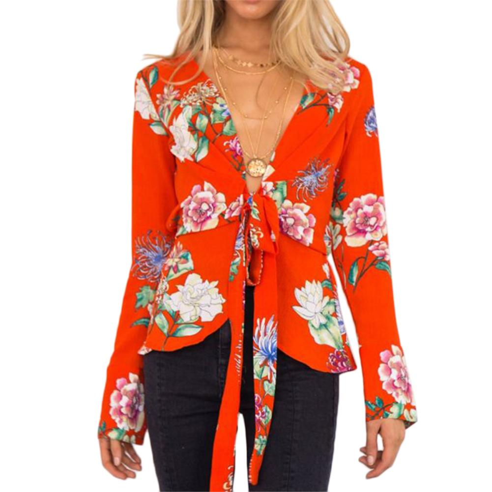 Women's V-Neck Printed Floral   Blouses   Sashes Long Sleeve   Blouse     Shirts   Women Casual Chic Tops Spring Autumn