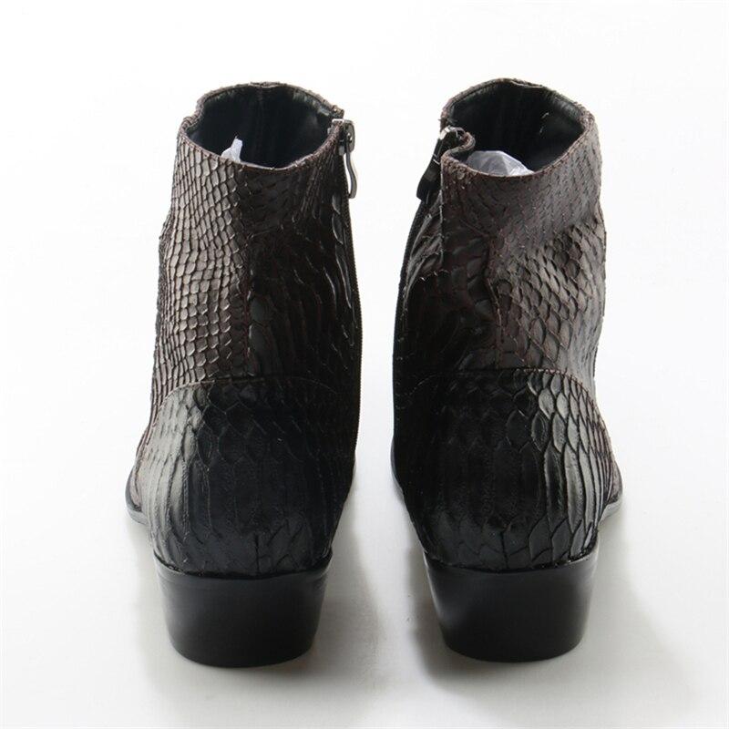 Botines Masculino Britânico Boots Branco Botas Ankle Cowboy Choo Marrom Padrão Eunice Cobra De b Preto Homens A Pele Zapatos c Couro Genuíno wxqZzB0Y