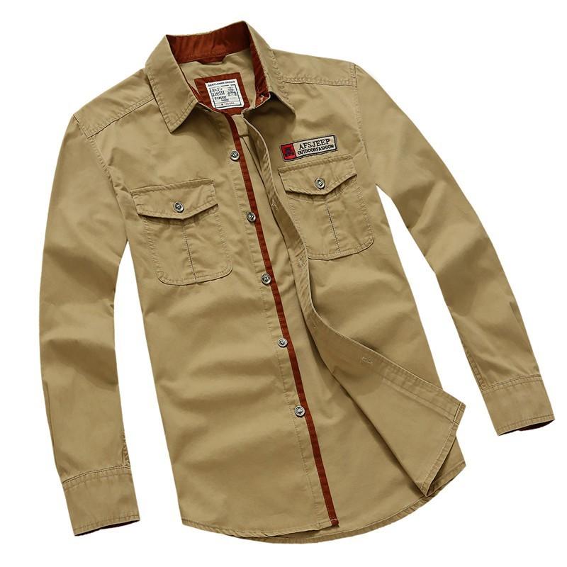 AFS JEEP 2015 Spring Autumn Fashion Men\'s Cotton Dress Plus Size Shirts Camisa Hombre Blouse Vestido Men Clothes Casual 2XL 3XL (21)
