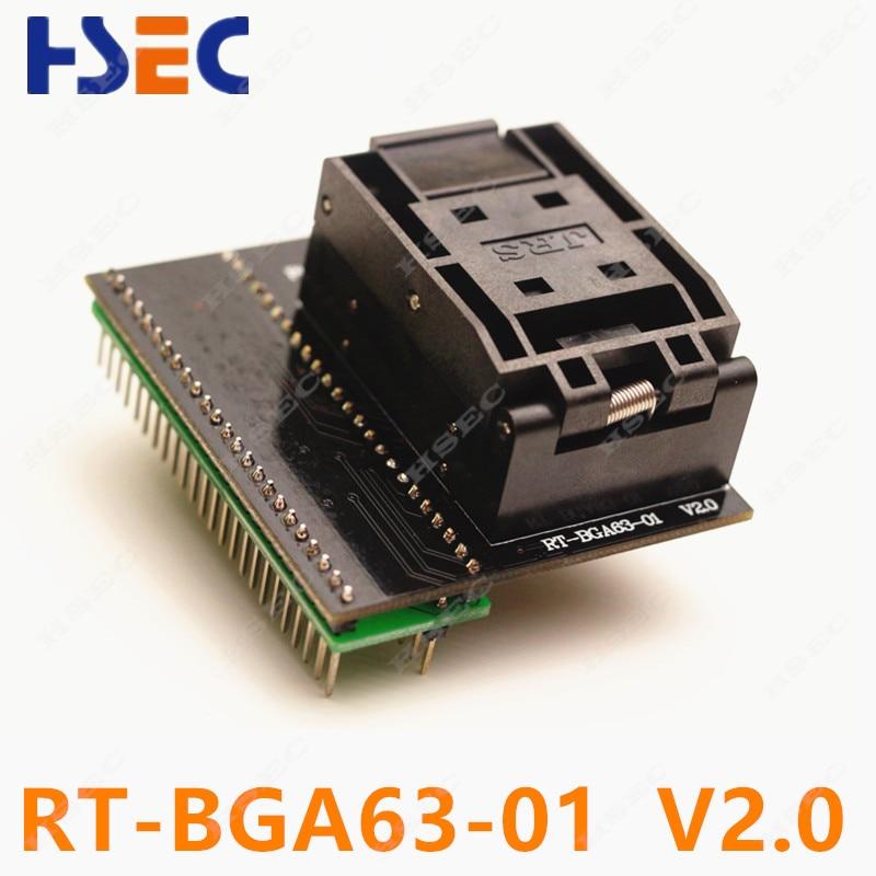 free shipping RT BGA63 01 V2 0 EMMC NW267 BGA63 socket Adapter For RT809H Programmer pitch