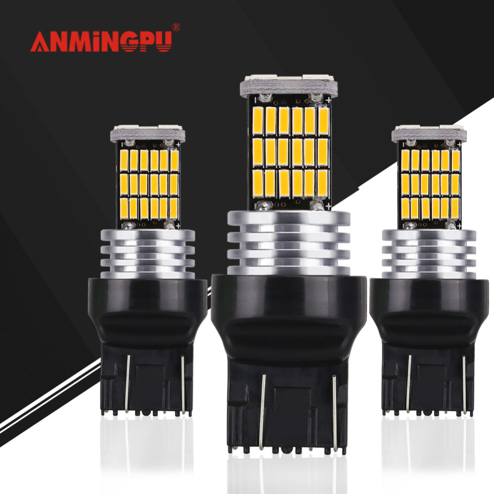 ANMINGPU 2x Signal Lamp T20 Led 7443 7440 Reverse Light Brake Turn Signal Lights W21/5W WY21W W21W Canbus Amber Car Light Bulb mayitr 2pcs t20 7443 w21 5w 6500k halogen white blue drl turn signal stop brake tail light bulb indicators lights