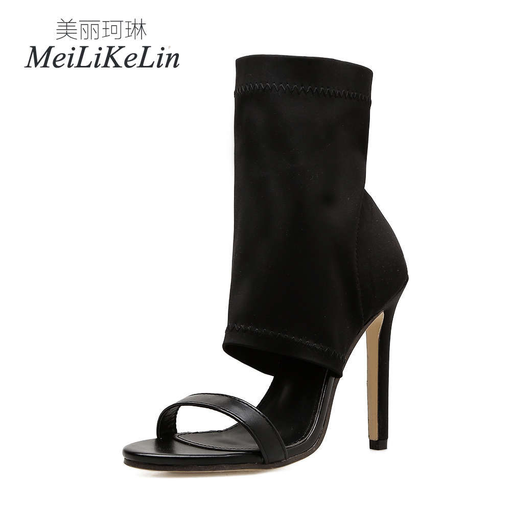 MeiLiKeLin Summer Fashion Sexy womens High-heeled Sandals Concise shoes woman Boot US5-9 Black
