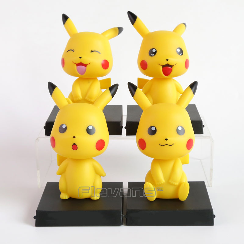 Cartoon Cute Pikachu Bobble Head Car Decoration Doll PVC Action Figure Collectible Model Toy 7 Styles 15cm solar energy cartoon character pvc abs star style action figure toy home office decoration 2 inch