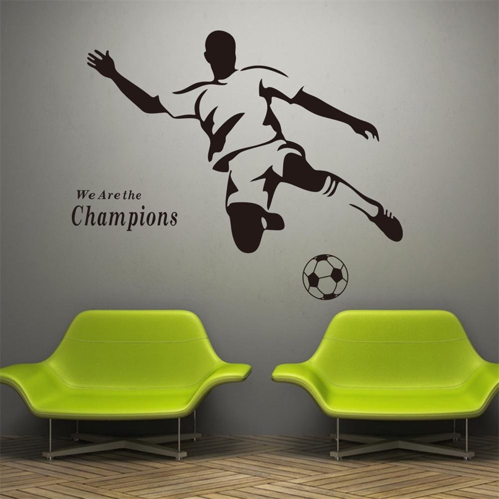 US $7.43 25% OFF|YOYOYU Wall Decal Champion Sports Wall Sticker Vinyl  Stencils For Walls Boy Football Soccer Kids Room Poster Decoration YO016-in  Wall ...