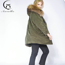 2019 long winter jacket women outwear thick parkas raccoon natural real fur collar coat hooded real warm Lamb Fur liner