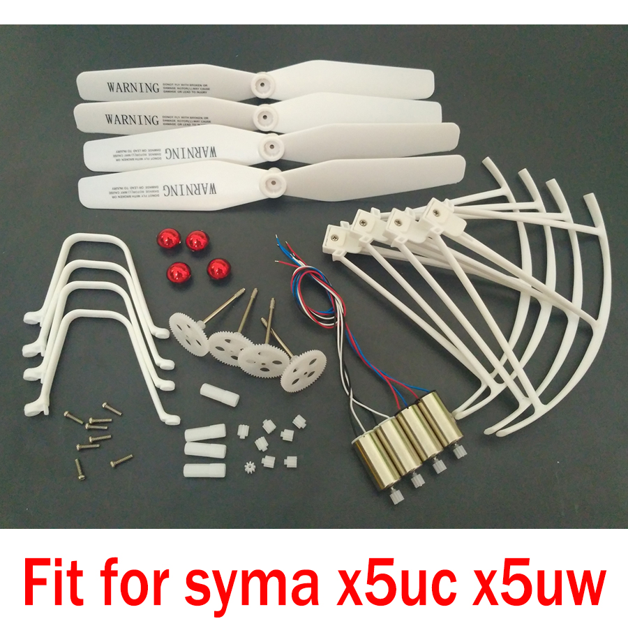 Syma X5UC X5UW RC Drone Spare Parts Full Set Kit Motors Engines Gear Propeller Landing Gear Skid Protection Cover Accessories syma x5hc x5hw spare parts shell motor propeller main blade landing gear kit protection ring frame rc drone accessory