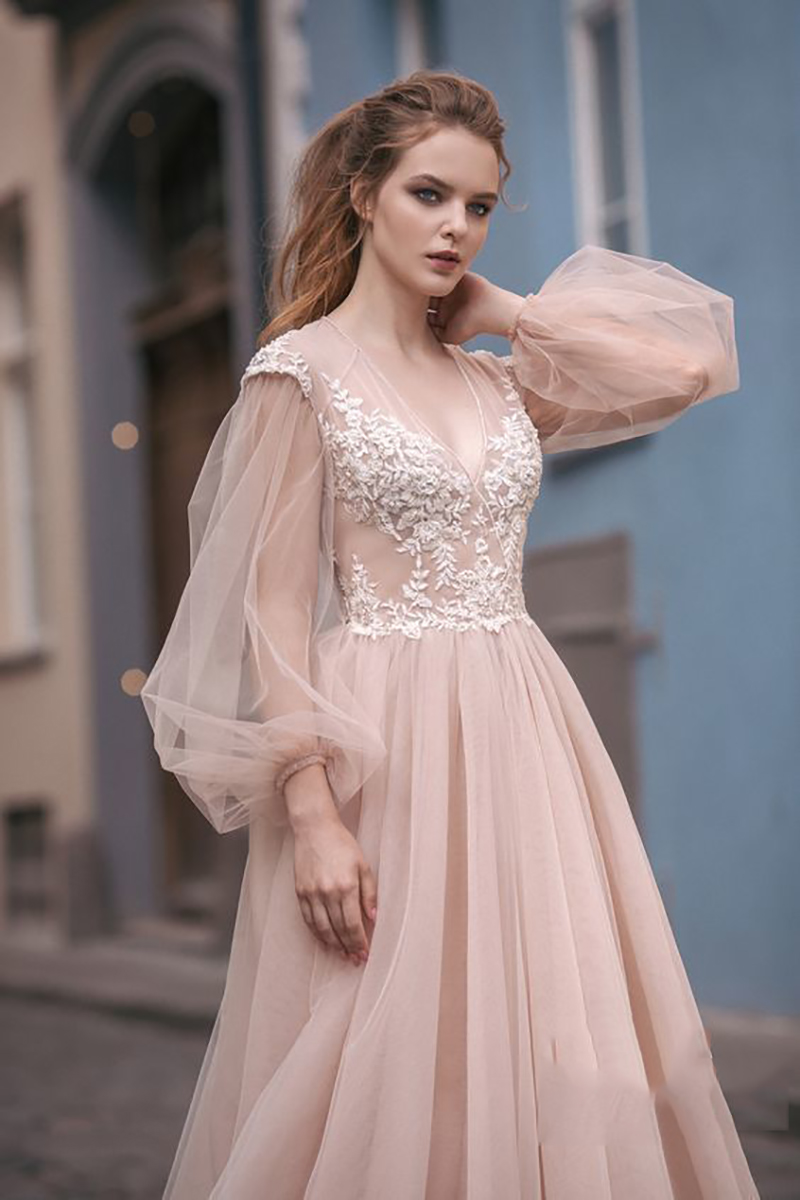 LORIE Light Pink Princess Wedding Dress Sweetheart Appliqued Puff Sleeves Bride Dress A-Line Tulle Backless Boho Wedding Gown
