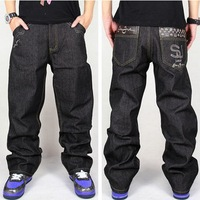 Hot Men Baggy Jeans Big Size Mens Hip Hop Jeans Loose Fashion Skateboard Baggy Relaxed Jeans