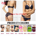 Sexy Lingerie Bra and Panty Set Underwear Push Up Bra Sets + Y Line Straps Front Sexy Lace Panties Candy Color Women Intimates