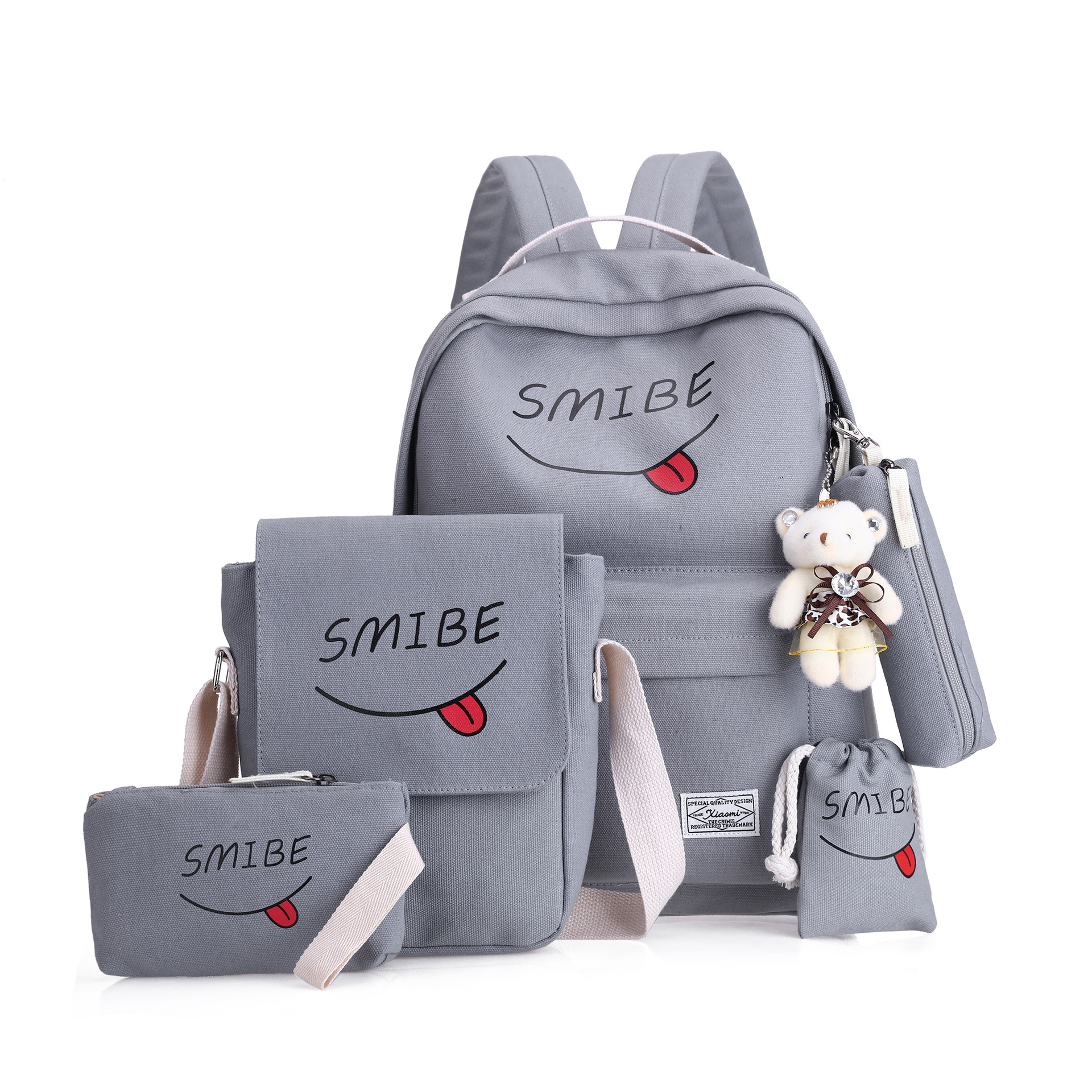 5cs/set Women Backpack Canvas Printing Smile School Bags For Teenage Girls Women's Backpacks Solid Women's Bag Mochila Mujer