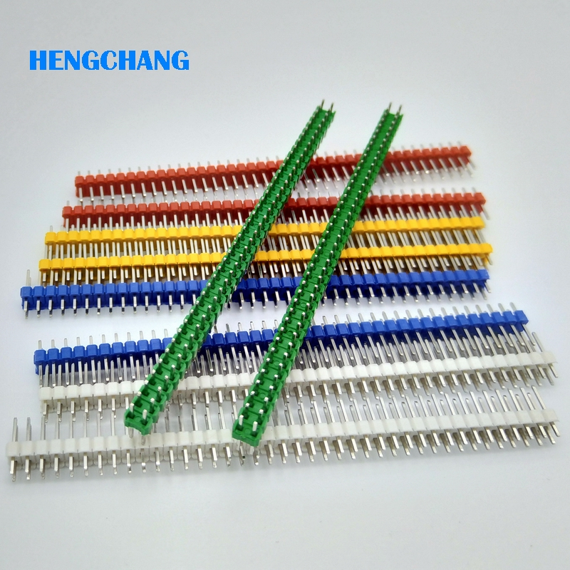 40Pins 2.54mm color double Row Straight Male Pin Header Strip For PCB 10pcs/lot free shipping gold plated copper 20pcs 40pins 2 54mm single row straight male pin header strip for pcb 20pcs lot