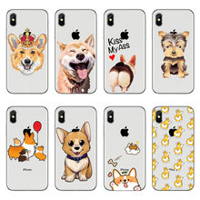 Cute funny Little short legs corgi For iPhone X 6 6S Plus 5 5S SE 7 8 Plus Sexy Cartoon Dog Ass clear soft silicone Phone Cover(China)