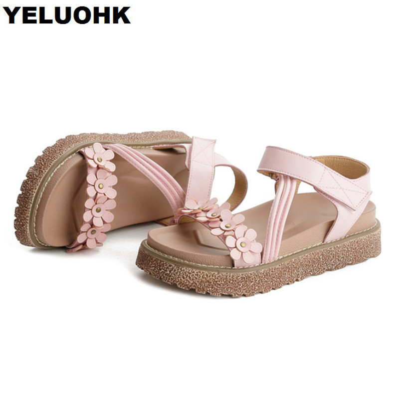 Flower Women Summer Shoes 2018 Platform Shoes Flat Sandals Comfortable Women Sandals Beach Shoes Cork Sandals women creepers shoes 2015 summer breathable white gauze hollow platform shoes women fashion sandals x525 50