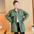 Fashion Autumn Winter 2017 Women Coats Stand Collar Single Breasted Outerwear Zippers Pockets Wide Waist Army Green Trench