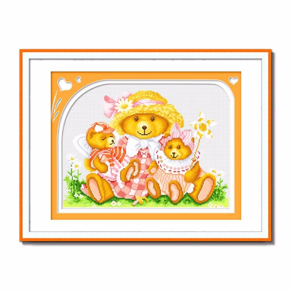 Sewcrane штамп вышивки крестом комплект, Happy Bear Семья в любви, 18.9x14.6 cm