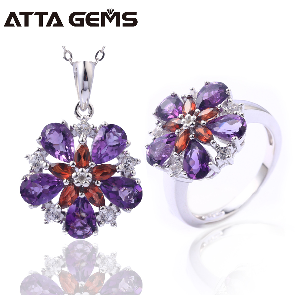 Natural Amethyst Sterling Silver Jewelry Set 7.8 Carats Natural Crystal Spring Flower Design Women Wedding Jewelry S925Natural Amethyst Sterling Silver Jewelry Set 7.8 Carats Natural Crystal Spring Flower Design Women Wedding Jewelry S925