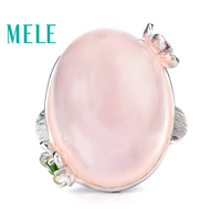 MELE Natural rose quarts silver ring, big oval shape in 15mm*20mm, all clean quality and romantic pink color, top quality gift