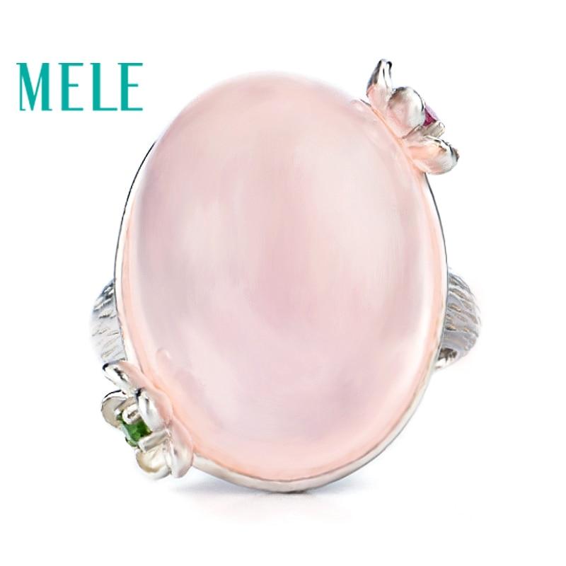 MELE naturel rose quarts bague en argent, grande forme ovale en 15mm * 20mm, tous de qualité propre et couleur rose romantique, cadeau de qualité supérieure