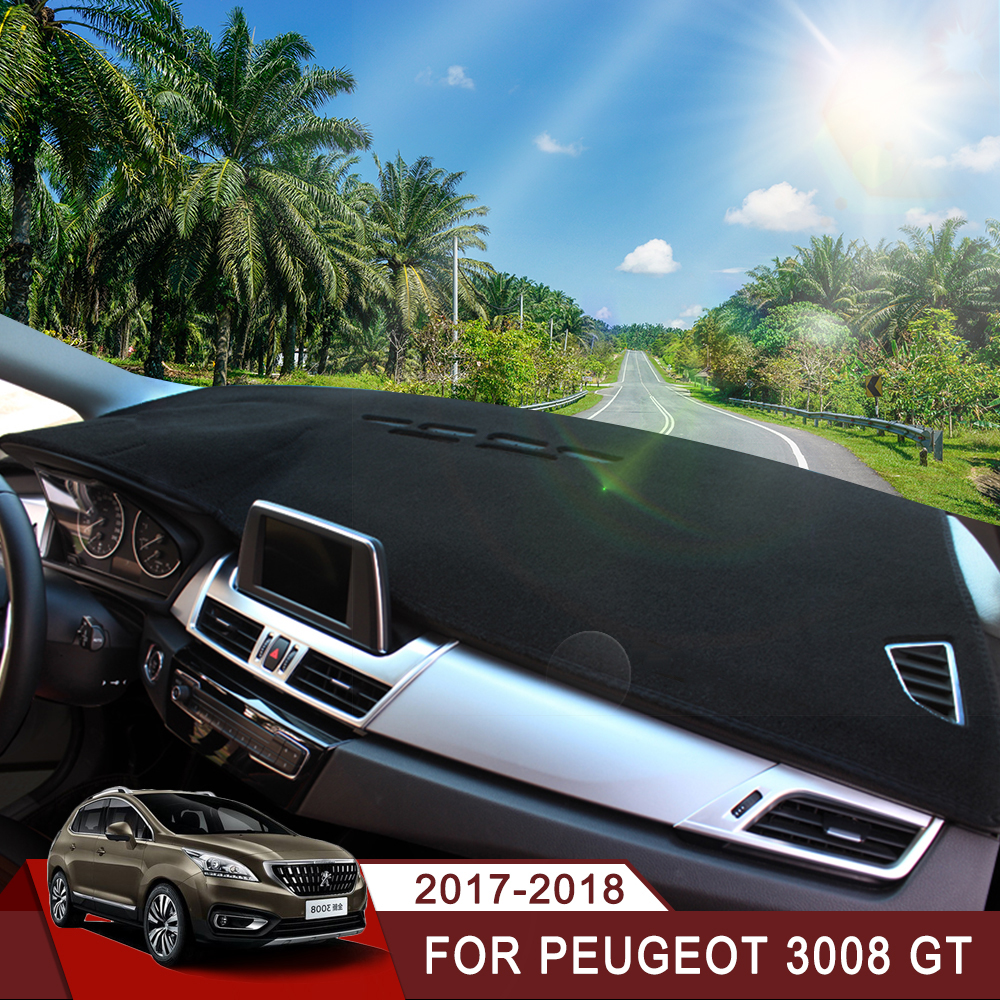Car Dashboard Covers Mat Avoid Light Pad Instrument Platform Desk Cushion Carpets LHD For <font><b>Peugeot</b></font> <font><b>3008</b></font> <font><b>GT</b></font> <font><b>2017</b></font> <font><b>2018</b></font> <font><b>Accessories</b></font> image