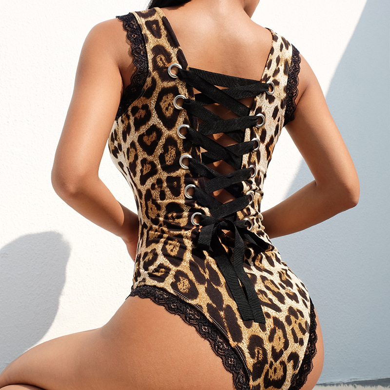 78bd5c829286b5 Animal Print Tank Body Women Back Hollow Bandage Leopard Bodysuit Patchwork  Sexy Short Party Jumpsuits For