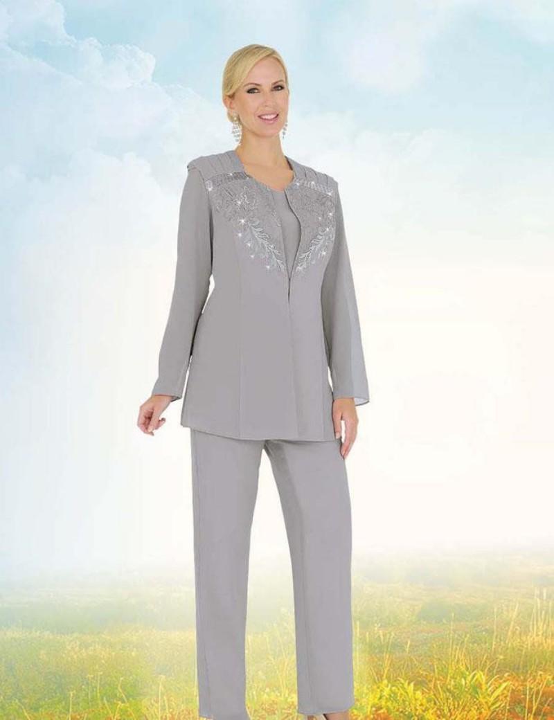 2016 elegant silver mother of the bride pants suit 3 piece