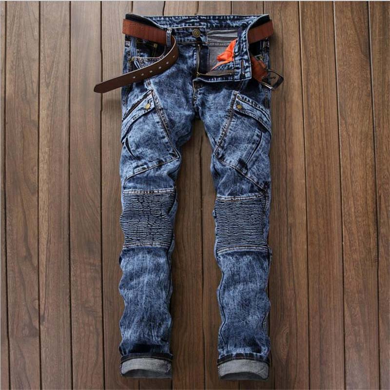 Newsosoo 2018 Hi-street Men\'s Denim Jeans Motorcycle Slim Fit Casual Washed Jeans Pants Male Fashion Trousers (2)