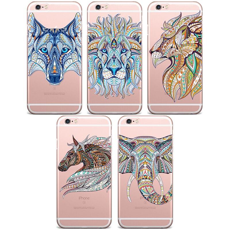 2016 новейшие слон лев волк лошадь Мягкие TPU телефон чехол для iPhone 4 4S 5 5S 5C 5SE 6 6S 6S плюс 6 Plus чехлы