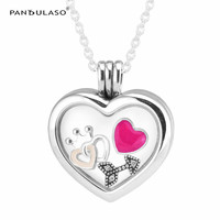 Love Crown Heart Arrow Small Petites Floating Heart Locket Silver Necklaces& Pendants DIY Silver 925 Jewelry Women Necklaces